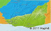 Physical Panoramic Map of MALDONADO, political outside