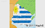 Flag Map of Uruguay, political shades outside