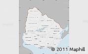 Gray Map of Uruguay, single color outside