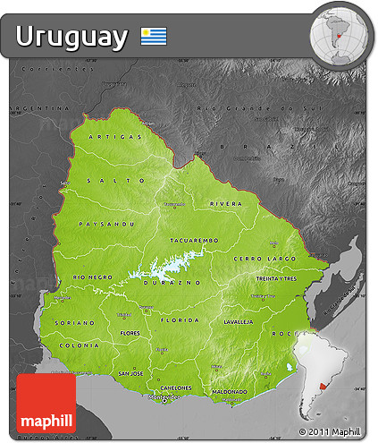 Free Physical Map Of Uruguay Darken Desaturated - Uruguay physical map