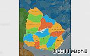 Political Map of Uruguay, darken