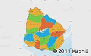 Political Map of Uruguay, single color outside
