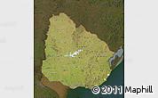 Satellite Map of Uruguay, darken