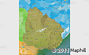 Satellite Map of Uruguay, political outside, satellite sea