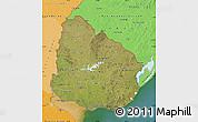 Satellite Map of Uruguay, political shades outside, satellite sea