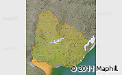 Satellite Map of Uruguay, semi-desaturated, land only