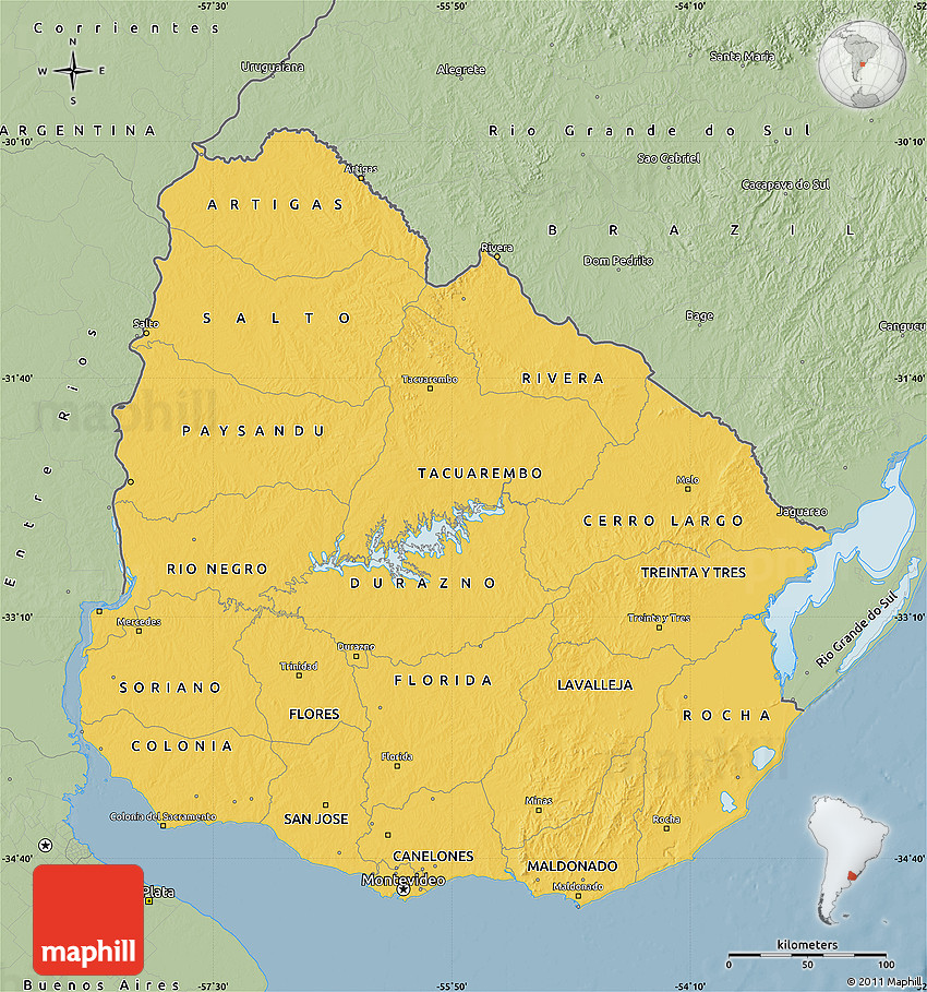 Savanna Style Map of Uruguay