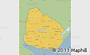 Savanna Style Map of Uruguay, single color outside