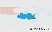 Political Panoramic Map of MONTEVIDEO, lighten