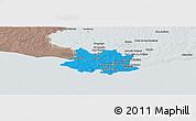 Political Panoramic Map of MONTEVIDEO, semi-desaturated