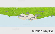 Shaded Relief Panoramic Map of MONTEVIDEO, physical outside