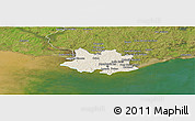 Shaded Relief Panoramic Map of MONTEVIDEO, satellite outside