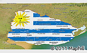 Flag Panoramic Map of Uruguay, satellite outside