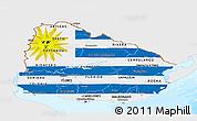 Flag Panoramic Map of Uruguay, single color outside, bathymetry sea