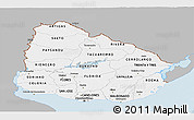Gray Panoramic Map of Uruguay, single color outside
