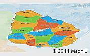 Political Panoramic Map of Uruguay, lighten