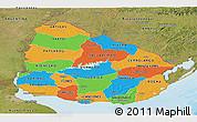 Political Panoramic Map of Uruguay, satellite outside, bathymetry sea