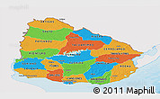 Political Panoramic Map of Uruguay, single color outside