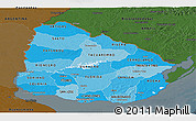 Political Shades Panoramic Map of Uruguay, darken