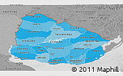 Political Shades Panoramic Map of Uruguay, desaturated