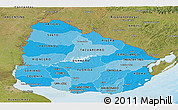 Political Shades Panoramic Map of Uruguay, satellite outside, bathymetry sea