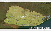 Satellite Panoramic Map of Uruguay, darken