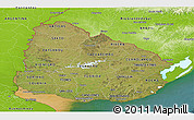 Satellite Panoramic Map of Uruguay, physical outside, satellite sea