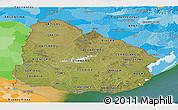 Satellite Panoramic Map of Uruguay, political outside, satellite sea