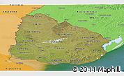Satellite Panoramic Map of Uruguay, political shades outside, satellite sea