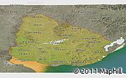 Satellite Panoramic Map of Uruguay, semi-desaturated, land only