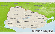 Shaded Relief Panoramic Map of Uruguay, physical outside