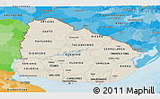 Shaded Relief Panoramic Map of Uruguay, political outside, shaded relief sea