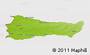 Physical Panoramic Map of PAYSANDU, cropped outside