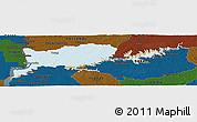Political Panoramic Map of RIO NEGRO, darken