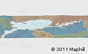 Political Panoramic Map of RIO NEGRO, semi-desaturated