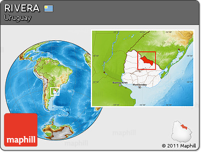 Physical Location Map of RIVERA, highlighted country, within the entire country