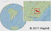 Savanna Style Location Map of RIVERA, hill shading
