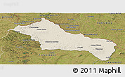 Shaded Relief Panoramic Map of RIVERA, satellite outside