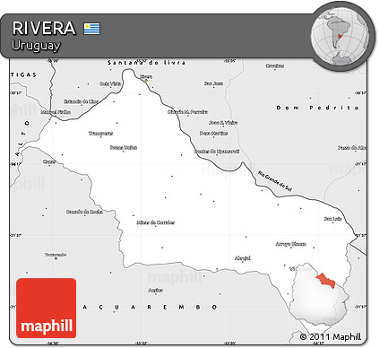 Silver Style Simple Map of RIVERA