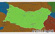 Political 3D Map of SALTO, darken