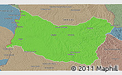 Political 3D Map of SALTO, semi-desaturated