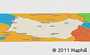 Shaded Relief Panoramic Map of SALTO, political outside