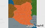 Political 3D Map of SAN JOSE, darken