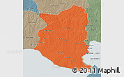 Political 3D Map of SAN JOSE, semi-desaturated