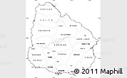 Blank Simple Map of Uruguay, cropped outside