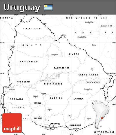 Free Blank Simple Map Of Uruguay - Uruguay blank map