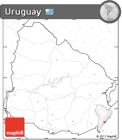 Free Blank Simple Map Of Uruguay No Labels - Uruguay blank map