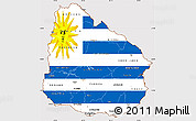 Flag Simple Map of Uruguay