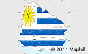 Flag Simple Map of Uruguay, single color outside