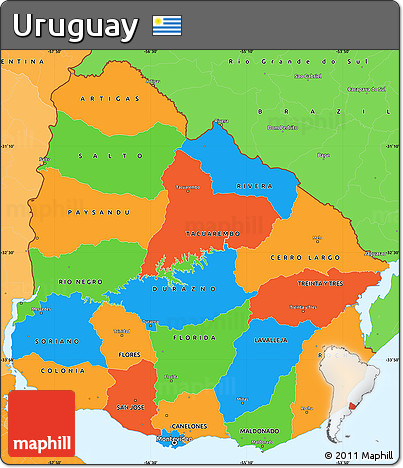 Free Political Simple Map of Uruguay political shades outside